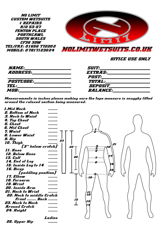 No Limit Custom TRI SUIT Measurement forms
